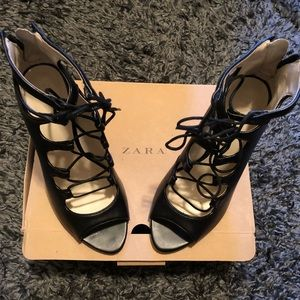 Zara Authentic Leather Lace Up Open Toe Bootie